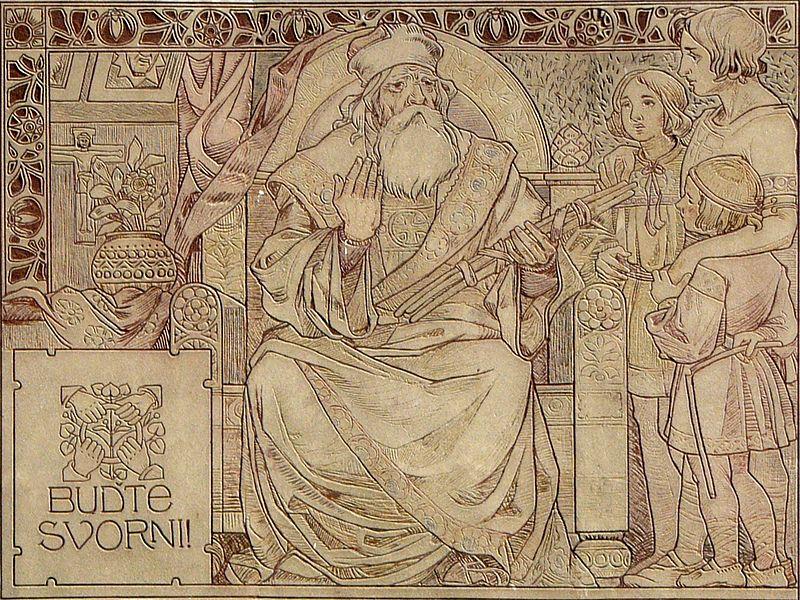 Książę Svatopluk (Świętopełk) z wiązką prętów i swoimi synami.