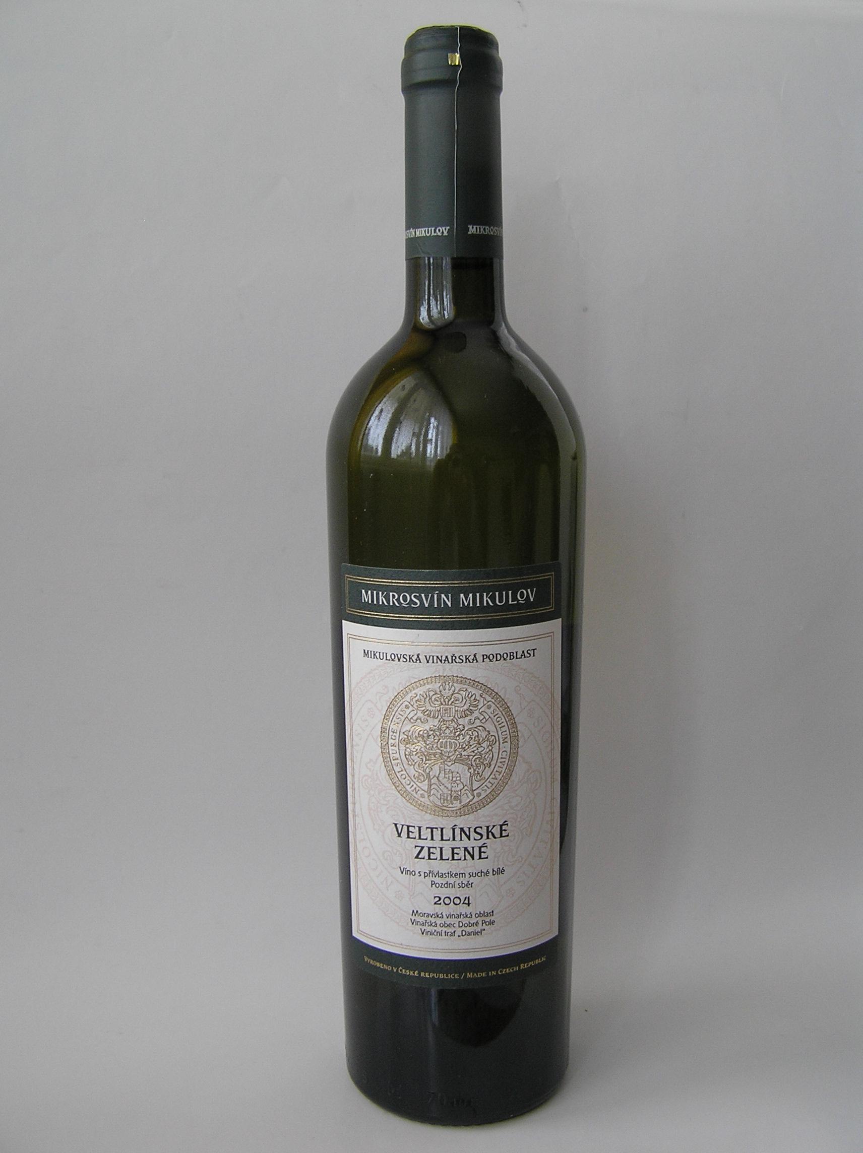 Foto 1. Butelka Veltlínské zelené - Mikrosvín Mikulov