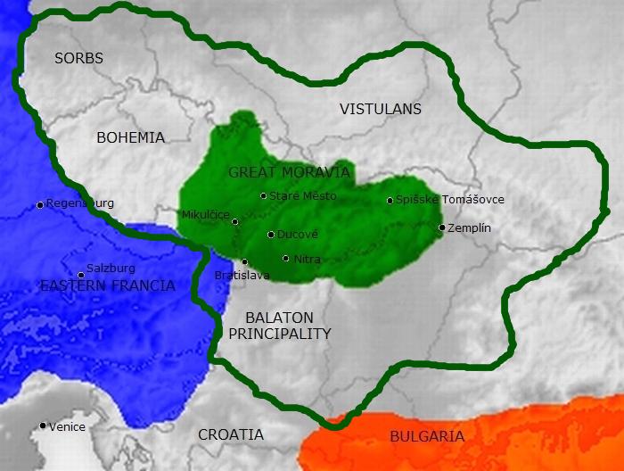 Europa centralna- IX wiek z wyznaczeniem prawdopodobnych granic Państwa Wielkomorawskiego