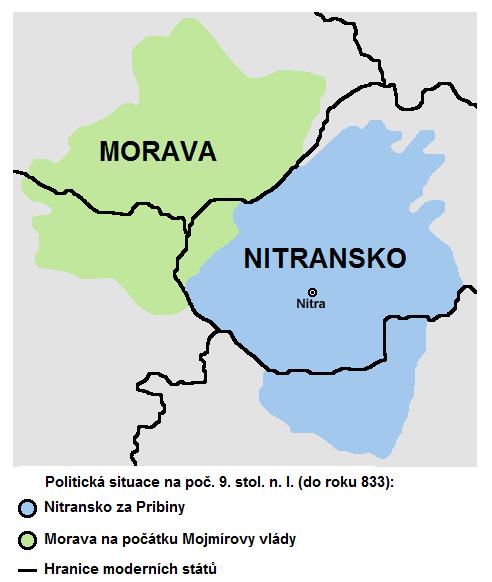 Państwo Wielkomorawskie na swoim początku w roku 833.